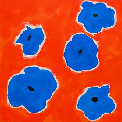Pat Service, 'Five Flowers (Blue)', 2019