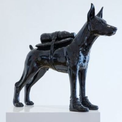 William Sweetlove, 'Cloned Doberman with Pet Bottle - Black'