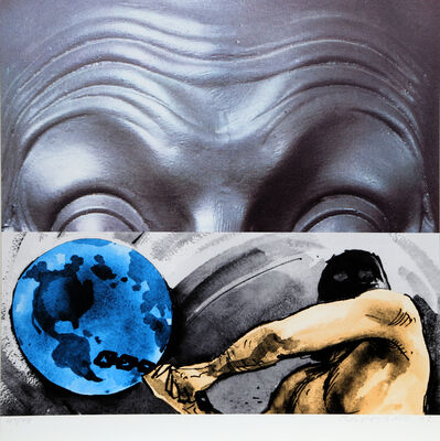 John Baldessari, 'Eyebrows Furrowed Foreheads Figure with Globe', 2009