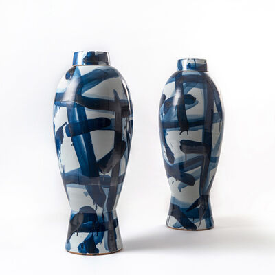Felicity Aylieff, 'Side by Side: A Pair of Blue & White Lidded Jars', 2017
