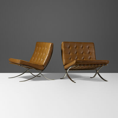 Ludwig Mies van der Rohe, 'Barcelona chairs, pair', 1929