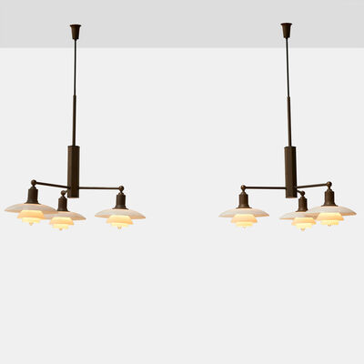 Poul Henningsen for Louis Poulsen, 'Pair of Poul Henningsen Limited Edition Three-Arm Chandeliers'