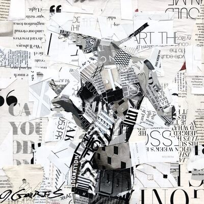 "Derek Gores, '""Art Theory #4"" black and white collage of a woman holding a martini glass', 2018-2019"