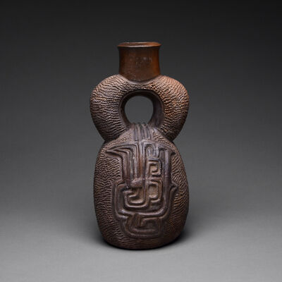 Chavin Culture, 'Chavin Textured Blackware Stirrup Vessel with Mythological Motifs', 700 B.C. to 200 B.C.
