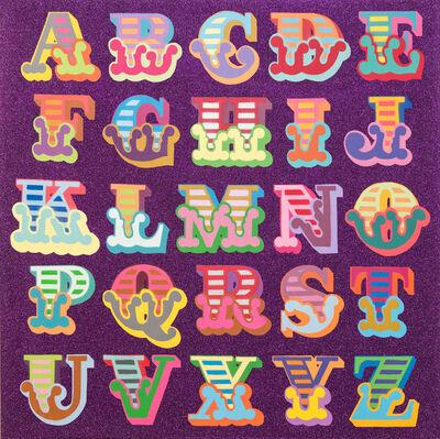 Ben Eine, 'Glitter A-Z (Purple)', 2018