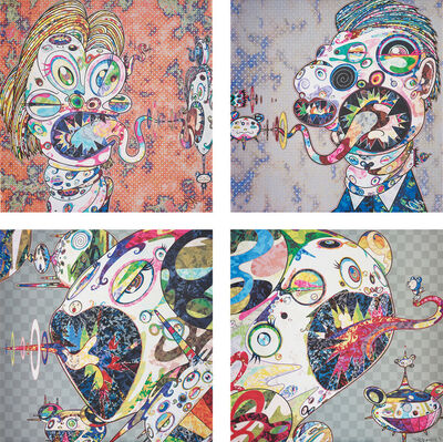Takashi Murakami, 'Homage to Francis Bacon (Study for Head of Isabel Rawsthorne and George Dyer); Homage to Francis Bacon (Study for Head of Isabel Rawsthorne and George Dyer); Homage to Francis Bacon (Study of Isabel Rawsthorne); and Homage to Francis Bacon (Study of George Dyer)', 2016-2017