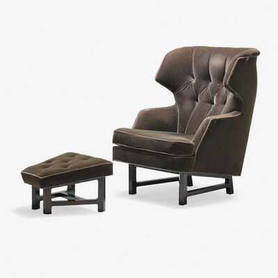 Edward Wormley, 'Wing-back lounge chair and ottoman, Berne, IN'