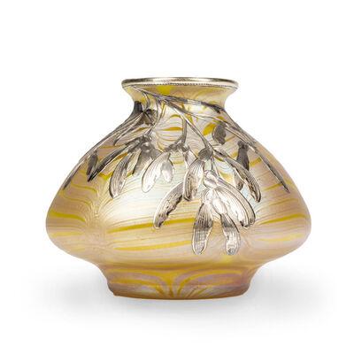 Loetz, 'Loetz signed early silver overlay vase Phenomen Gre 85/3780 ca 1900', ca. 1900