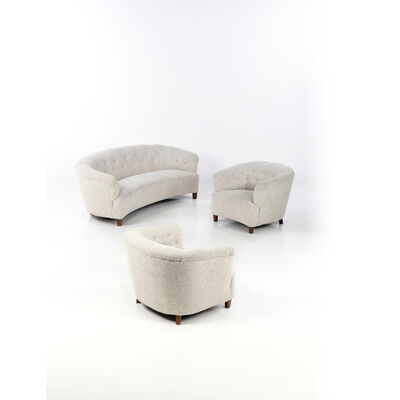 Greta Magnusson Grossman, 'Set of sofa and two armchairs', circa 1940