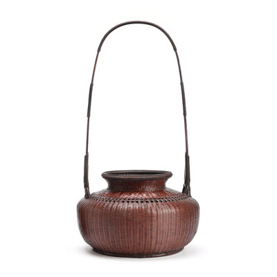 Tanabe Chikuunsai II, 'Pot Style Flower Basket with tall Handle 17 1178', 1910-2000