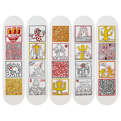 Keith Haring, 'One Man Show Skateboard Decks', 2019