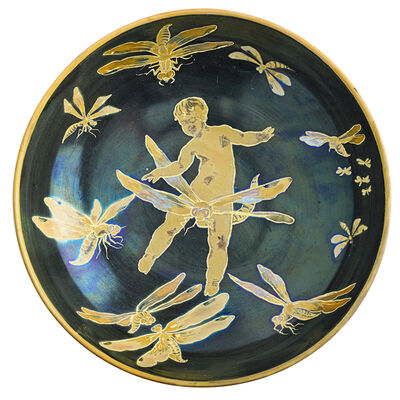 Zsolnay, Pècs Factory, 'Bowl With Putto And Dragonflies, Pecs, Hungary', ca. 1900