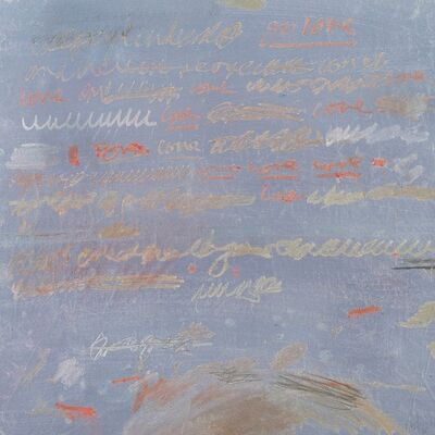 Taha Afshar, 'Gold and Red Writing on Purple Snowscape', 2018