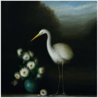 David Kroll, 'Landscape (Egret and Roses)', 2019