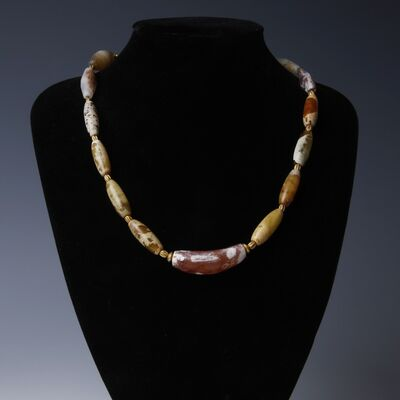 Ancient, 'Gold Agate Carnelian Necklace With Persian Beads', Circa 400 -300 BC