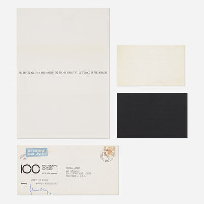 James Lee Byars, 'collection of three announcements and envelope', 1975/76