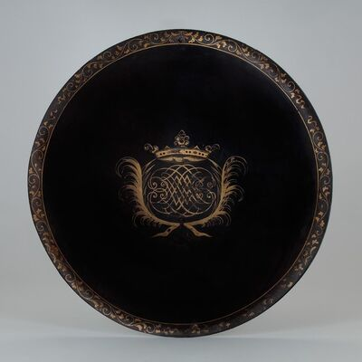 Unknown, 'A Lacquered Shield with a European Coat of Arms', 17th century -Japan and Bengal