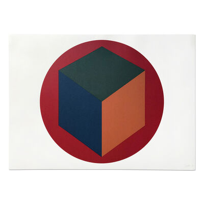 Sol LeWitt, 'Centered Cube within a Red Circle', 1988