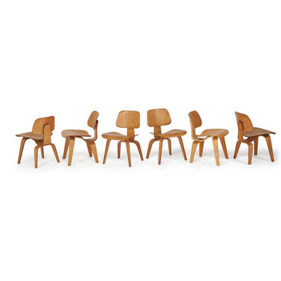 Charles and Ray Eames, 'Assembled Set Of Six Dining Chairs (Dcw)', 1940s-1950s and 2000s