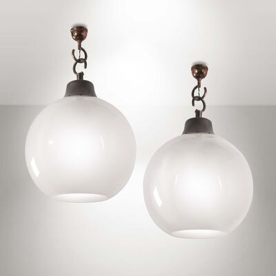 Luigi Caccia Dominioni, 'A pair of LC10 pendant lamps with an aluminum structure and glass diffuser', 1964