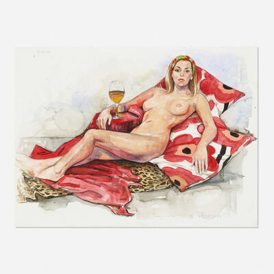 Delia Brown, 'Live! Drawing: 3 Hours; Leisa on Marimekko pillows', 2003