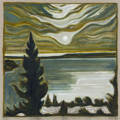 Billy Childish, 'Tree and moon', 2017