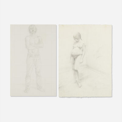 William Beckman, 'Study for Self-Portrait; Diana Pregnant - Study for Box Construction (two works)'