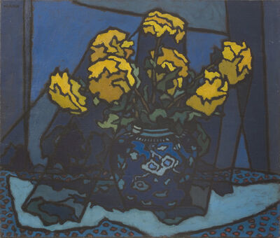 Cyril Mann, 'Dahlias in Blue Vase', ca. 1953
