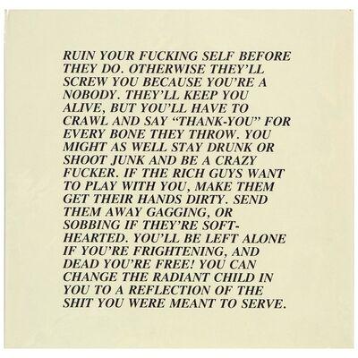 """Jenny Holzer, 'Ruin, """"Inflammatory Essay"""" (from Documenta 1982)', 1982"""