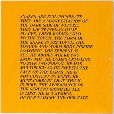 Jenny Holzer, 'Snakes - Inflammatory Essay', 1982