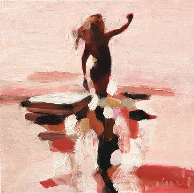 """Elizabeth Lennie, '""""Mythography 163"""" abstract oil painting of a woman in water in a neutral palette', 2020"""