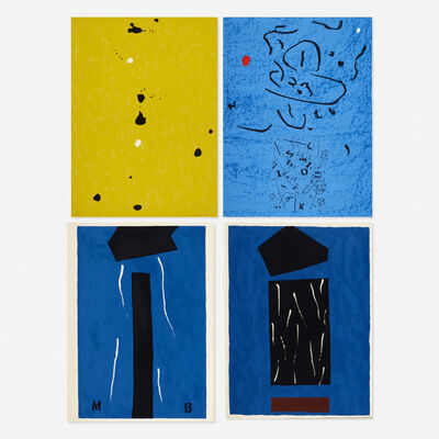 Emerson Woelffer, 'Blue Murder; Red Moon, White Sun; Lost 'O'; Untitled (four works)'