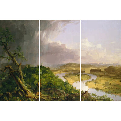 Diane Rosenblum, 'After Thomas Cole the Oxbow, Triptych', Contemporary