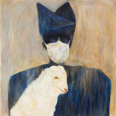 Kharis Kennedy, 'Woman with Goat and Surgical Mask', 2018