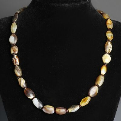 Ancient, 'Garnet Western Asiatic Agate Ancient Bead Necklace', Circa 500 BC