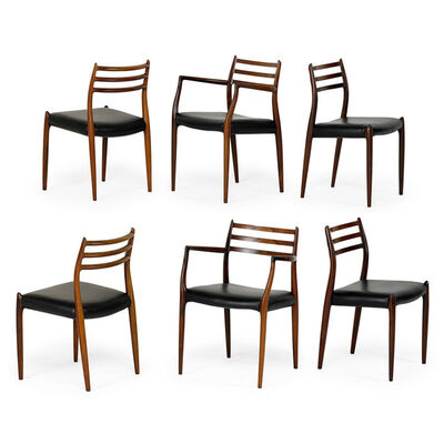 Niels Otto Møller, 'Set of six dining chairs, two arm-, four side-, Denmark', 1970s