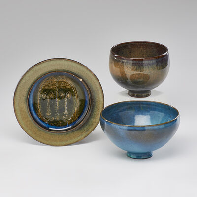 Edwin Scheier, 'Three pieces: two footed bowls in Hare's Fur  glazes and plate decorated with faces'