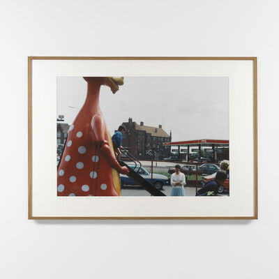 Dan Graham, 'Kids Using Dinosaur Slide In Front of 'Family Restaurant', Environs of London', 1984