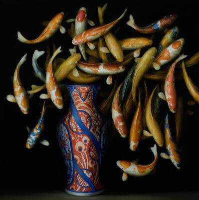 David Kroll, 'Koi and Red and Blue Vase', 2017