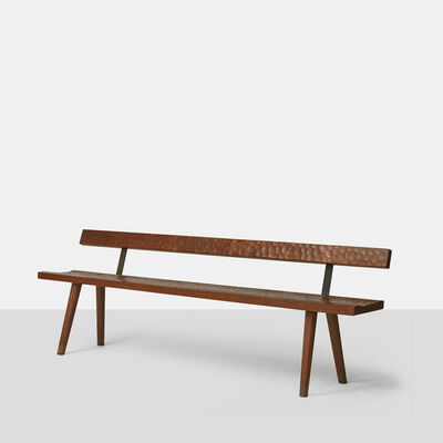 Jean Touret, 'Jean Touret Oak Bench with Back for Atelier Marolles', 1950-1959
