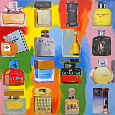Steve Kaufman, 'PERFUME! COLLAGE - 16 BOTTLES', 2001-2007