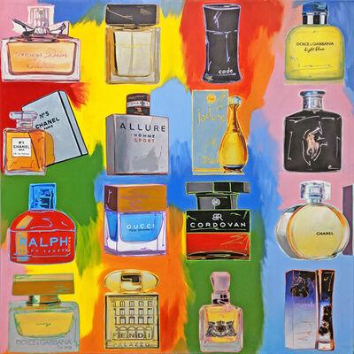 Steve Kaufman, 'PERFUME! COLLAGE - 16 BOTTLES', 2001-2007