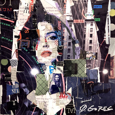 "Derek Gores, '""Ms Elle"" Collage of a woman's face with black, purple, and red', 2019"