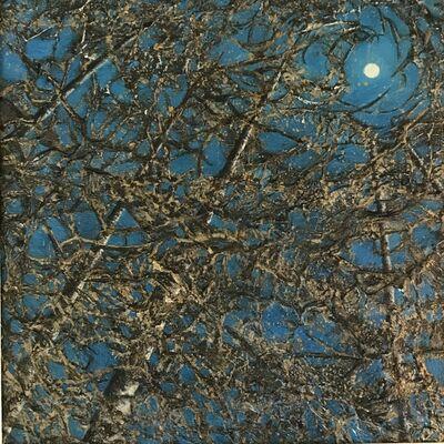 Christie Coker, 'Night Magic III - Sky, Trees, Moon, Metallic, Gold, Dark Blue, Texture, Forrest', 2020