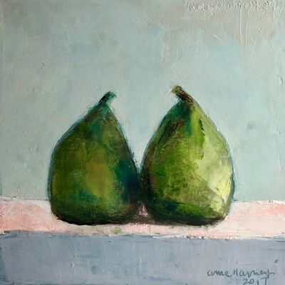 "Anne Harney, '""Twins"" Still Life of Two Green Pears with Cool Neutral Background', 2018"