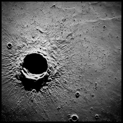 Michael Light, '20-Mile-Wide Crater Timocharis, 62 Miles Altitude; Photographed by Alfred Worden, Apollo 15, July 26-August 7, 1971', 1971