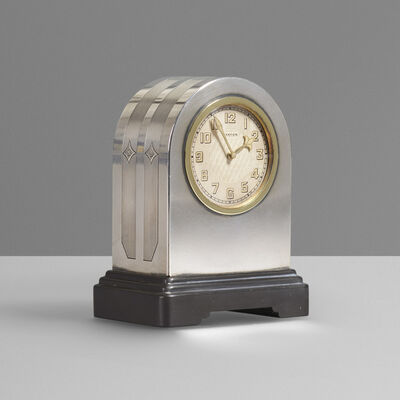 Cartier, 'Sterling silver and gold desk clock', c. 1930