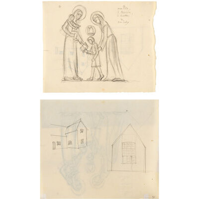 Eric Gill, 'Our Lord, St. Monica, St. Austin and Our Lady, Studies of Buildings (a double sided work)'