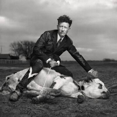 Martin Schoeller, 'Lyle Lovett with Steer, Gainsville, Texas', 2004