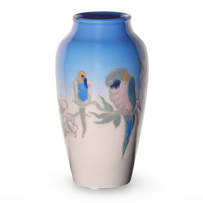 Rookwood Pottery, 'Decorated Porcelain vase with exotic birds by unidentified artist (uncrazed)', 1919
